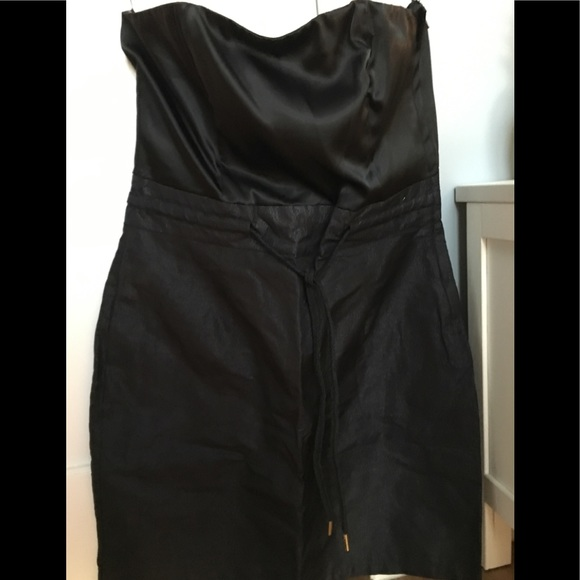7fa0689f3801 H&M Dresses | H And M Black Sateen Strapless Dress | Poshmark